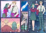2girls arm_around_neck bishoujo_senshi_sailor_moon blonde_hair gloves green_hair hand_in_pocket hands_clasped jacket_over_shoulder kaiou_michiru kanbe_c multiple_girls necktie pants plaid plaid_pants plaid_skirt reverse_trap school_uniform serafuku short_hair skirt sparkle ten'ou_haruka translation_request white_gloves