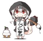 >:) 1girl c: calligraphy_brush chibi commentary_request feiton hishimochi holding hooded_jacket i-class_destroyer kantai_collection kuchiku_i-kyuu looking_at_viewer paintbrush pale_skin re-class_battleship red_eyes scarf scroll shinkaisei-kan short_hair smile tail translation_request