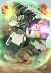 absurdres cannon dust energy_shield firing gundam gundam_00 highres mecha no_humans sa/tsu/ki virtue weapon