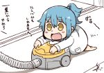 1girl :d barefoot blue_hair commentary_request labcoat open_mouth personification ponytail signature smile solo translation_request tsukigi twitter vacuum_cleaner yellow_eyes