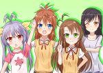 4girls black_hair brown_eyes ichijou_hotaru koshigaya_komari koshigaya_natsumi long_hair miyauchi_renge multiple_girls non_non_biyori v