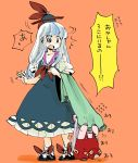 2girls ascot black_eyes black_shoes blue_dress blue_hair bow breasts cleavage commentary_request covering_face dress fingernails fujiwara_no_mokou giggling hair_bow hat highres kamishirasawa_keine komaku_juushoku lavender_hair layered_dress long_hair long_sleeves multicolored_hair multiple_girls panties pink_shirt red_panties shirt shoe_bow shoes short_sleeves sidelocks socks standing surprised suspenders touhou towel translation_request two-tone_hair underwear white_dress white_hair white_legwear younger