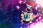 1girl blob blue_hair book butterfly closed_eyes doremy_sweet dress hat nightcap nr_(cmnrr) pom_pom_(clothes) short_hair sky solo star_(sky) starry_sky tail touhou