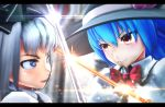 2girls 3d battle blue_eyes blue_hair blurry_background blush bow clash clenched_teeth collared_shirt green_vest hairband hat highres hinanawi_tenshi katana konpaku_youmu light_particles long_hair looking_at_another mikumikudance multiple_girls oyasiro35 red_eyes serious shirt short_hair silver_hair sparks sword sword_of_hisou touhou weapon white_shirt