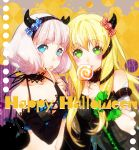 2girls aldnoah.zero asseylum_vers_allusia blonde_hair blue_eyes blush candy devil_horns green_eyes halloween_costume lemrina_vers_envers lollipop multiple_girls purple_hair siblings sisters