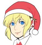 1girl aegis aegis_(persona) blonde_hair blue_eyes bobblehat christmas collar face hat persona persona_3 red_hat santa_hat simple_background smile solo upper_body white_background