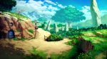 blue_sky clouds cloudy_sky day door fence flower forest giant_tree grass highres lamppost mitsu_ura monolith_(object) nature no_humans original outdoors path plant purple_flower red_flower road rock scenery sign sky smoke tree_shade window yellow_flower