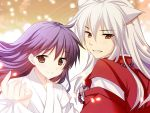 1boy 1girl animal_ears ayamisiro blush brown_eyes dog_ears grin happy higurashi_kagome inuyasha inuyasha_(character) jewelry looking_at_viewer necklace outstretched_hand pearl_necklace purple_hair smile white_hair