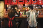 2boys blue_eyes bowl bridal_gauntlets brown_hair chopsticks coca-cola cup drinking_glass drinking_straw dumpling earrings eating food from_behind haori high_ponytail japanese_clothes jewelry jiaozi kashuu_kiyomitsu ketchup licking_lips long_hair male_focus mole mole_under_eye multiple_boys noodles nuriko-kun ponytail purple_hair red_scarf restaurant scarf shinsengumi sitting soda_can squeeze_bottle stool tongue tongue_out touken_ranbu white_scarf yamato-no-kami_yasusada
