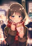 1girl argyle argyle_scarf bag bangs blurry blurry_background blush bokeh brown_hair building city depth_of_field finger_to_cheek food fringe holding_food kinugasa_yuuichi long_hair long_sleeves looking_at_viewer night original outdoors parted_lips pink_lips red_eyes red_scarf scarf shoulder_bag sleeves_folded_up smile solo swept_bangs taiyaki upper_body wagashi