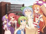 5girls adapted_costume alternate_costume american_flag_legwear american_flag_shirt bat_wings blue_eyes blue_hair blue_sky blush breasts breath cirno closed_eyes clouds clownpiece crescent_hair_ornament daiyousei demon_girl demon_wings dress eating fairy_wings fang food full-face_blush gate green_hair hair_ornament hair_ribbon hammer hands_in_sleeves happy_new_year hat head_wings jester_cap koakuma kuresento large_breasts long_hair long_sleeves looking_at_another mochi multiple_girls necktie new_year no_hat open_mouth orange_hair patchouli_knowledge puffy_sleeves purple_hair red_eyes redhead ribbon scarf short_hair short_sleeves side_ponytail sky smile star strapless_dress striped sweatdrop touhou tress_ribbon violet_eyes wagashi wall wings