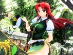 1girl 3d artist_request breasts flower highres hong_meiling large_breasts long_hair mikumikudance solo thighs touhou