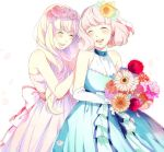 aldnoah.zero amy26 asseylum_vers_allusia blonde_hair bouquet closed_eyes dress flower formal lemrina_vers_envers open_mouth purple_hair siblings sisters smile