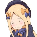 1girl :i abigail_williams_(fate/grand_order) bangs black_bow black_dress black_hat blonde_hair bow closed_eyes closed_mouth commentary_request dress eating eyebrows_visible_through_hair facing_viewer fate/grand_order fate_(series) forehead hair_bow hat head_tilt long_hair mitiru_ccc2 orange_bow parted_bangs polka_dot polka_dot_bow simple_background solo very_long_hair white_background
