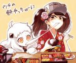 2girls ahoge bowl brown_eyes brown_hair chopsticks eating food hair_ornament holding horns kantai_collection long_hair mittens mochi multiple_girls northern_ocean_hime obentou omelet orange_eyes riho ryuujou_(kantai_collection) shinkaisei-kan sweat tamagoyaki translation_request twintails visor_cap wagashi white_hair white_skin