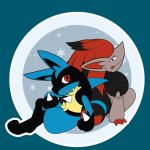 lucario no_humans pokemon pokemon_(creature) snowflakes zoroark