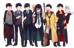 6+boys :3 :d ahoge alternate_costume animal animal_on_shoulder bangoul bird bird_on_arm black_eyes black_hair black_pants blue_necktie blush book boots broom brothers carrying_under_arm cat cat_on_shoulder clenched_teeth closed_mouth contrapposto cosplay fingerless_gloves frown gloves grin hand_in_pocket hands_in_pockets harry_potter heart heart_in_mouth holding holding_book holding_broom holding_letter holding_wand hood hooded_jacket legs_apart letter long_sleeves looking_at_another love_letter male_focus matsuno_choromatsu matsuno_ichimatsu matsuno_juushimatsu matsuno_karamatsu matsuno_osomatsu matsuno_todomatsu multiple_boys necktie open_mouth osomatsu-kun osomatsu-san owl pants poking quidditch ribbed_sweater scarf scroll sextuplets shaded_face shirt shoes siblings simple_background sleeves_rolled_up smile standing striped striped_necktie striped_scarf sweatdrop sweater sweater_vest uneven_eyes wand white_background white_pants white_shirt