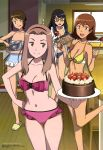 4girls :d :q absurdres animedia baking_sheet bare_shoulders bikini black-framed_glasses black_hair blue_bikini bowl breasts brown_eyes brown_hair cake chair chocolate cleavage collarbone cookie digimon digimon_adventure_tri. food fork frilled_bikini frilled_swimsuit frills fruit glasses hair_ornament hairband hairclip hand_on_hip highres hips kitchen leg_up licking_lips long_hair mixing mixing_bowl mochizuki_meiko multiple_girls navel official_art one-piece_swimsuit open_mouth pink_bikini pink_eyes sasaki_masakatsu scan shiny shiny_hair short_hair slippers smile strawberry swimsuit table tachikawa_mimi takenouchi_sora tile_wall tiles tongue tongue_out tray violet_eyes window wooden_floor yagami_hikari yellow_bikini