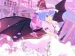 1girl 3d bat_wings flower highres kurogoma_(meganegurasan) large_wings mikumikudance petals remilia_scarlet solo touhou vampire wings