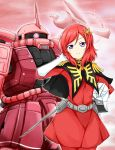 1girl belt capelet char_aznable_(cosplay) dress elbow_gloves gloves gundam hair_ornament hand_in_hair headwear_removed helmet helmet_removed karamoneeze looking_at_viewer love_live!_school_idol_project mecha military military_uniform mobile_suit_gundam nishikino_maki red_dress redhead solo space_colony space_station uniform violet_eyes white_gloves zaku_ii_s_char_custom