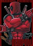 1boy abs character_name copyright_name dated deadpool impossible_clothes katana male_focus marvel mask muscle signature solo superhero sword traditional_media tryvor upper_body w weapon
