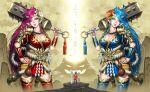 armor giantess highres horns multiple_giantesses oni weapon