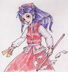 1girl breasts colored gohei hair_bow hakurei_reimu_(pc-98) highly_responsive_to_prayers japanese_clothes long_sleeves looking_at_viewer miko open_mouth purple_hair solo touhou touhou_(pc-98) traditional