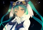 1girl black_background blue_eyes blue_hair buttons coat collar expressionless gloves goggles goggles_on_head hat hatsune_miku long_hair long_sleeves looking_at_viewer lp_(hamasa00) simple_background ski_goggles snowflake_print solo twintails upper_body very_long_hair vocaloid white_gloves white_hat winter_clothes winter_coat yuki_miku