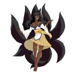 1girl absurdres alternate_color animal_ears bare_legs bare_shoulders black_hair breasts brown_eyes cleavage dark_skin fox_ears fox_tail grin highres kitsune large_breasts legs long_hair looking_at_viewer mon-musu_quest! monster_girl multiple_tails obi older sash simple_background smile solo tabi tail tamamo_(mon-musu_quest!) tattoo thundragon white_background