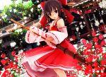 1girl 3d flower hakurei_reimu japanese_clothes kurogoma_(meganegurasan) miko mikumikudance shrine solo touhou