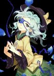 1girl aqua_eyes bow darkness eyepatch fingers_together floral_print hat hat_bow komeiji_koishi long_sleeves looking_at_viewer petals seeker shirt silver_hair skirt solo third_eye touhou vines wide_sleeves