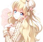1girl blonde_hair blue_eyes bow coco_(otoca_doll) earrings flower hat highres jewelry kobeni long_hair looking_at_viewer mini_hat mini_top_hat otoca_doll rose smile solo striped striped_bow top_hat upper_body white_background white_hat