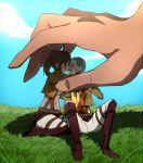 1boy 1girl almost_kiss blood closed_eyes conny_springer sasha_browse shingeki_no_kyojin sky tears titan_(shingeki_no_kyojin)