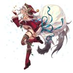 1girl absurdres aqua_eyes artist_request bare_shoulders boots character_request coin copyright_request facial_mark full_body hat highres long_hair long_sleeves money ribbon sack santa_costume santa_hat solo tail thigh-highs thigh_strap very_long_hair white_background yellow_eyes