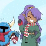 1boy 1girl blush coat crossover dark_skin flying_sweatdrops helmet horned_helmet inkerton-kun long_hair mittens pointy_ears ponytail purple_hair scarf shantae shantae_(character) shovel_knight shovel_knight_(character) smile snowing sweater very_long_hair waving winter_clothes
