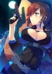 1girl blush bodysuit breasts brown_eyes brown_hair cleavage gun hiding holding holding_weapon jill_valentine large_breasts long_hair monster moon night night_sky resident_evil resident_evil_revelations sky tamiya_akito weapon