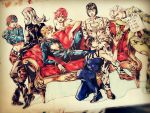 black_hair blonde_hair bob_cut breasts bruno_bucciarati choker closed_eyes couch crossed_legs giorno_giovanna guido_mista hair_ornament hairband hat jojo_no_kimyou_na_bouken leaning_forward leone_abbachio math midriff narancia_ghirga pannacotta_fugo paper photo pink_hair qi_(bleachcxn) short_hair silver_hair sitting traditional_media trish_una white_hair yellow_eyes