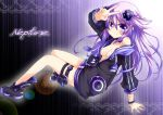 1girl absurdres adult_neptune ankle_boots bangle blush boots bracelet breasts character_name cleavage collarbone hair_ornament highres hood hooded_track_jacket jacket jewelry long_hair neptune_(series) off_shoulder purple_hair shin_jigen_game_neptune_vii smile solo track_jacket v violet_eyes zero-theme
