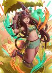 1girl animal_ears anklet banajune bangs barefoot bastet_(p&d) blunt_bangs braid brown_hair cat_ears cat_tail commentary_request dark_skin egg egyptian facial_mark fang green_eyes hatching headdress jewelry long_hair midriff navel necklace open_mouth puzzle_&_dragons skirt smile solo strapless tail tubetop twin_braids