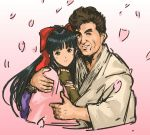 1boy 1girl black_hair bow brown_eyes brown_hair couple dougi eyebrows fingerless_gloves game_console gloves hair_bow hetero highres hug japanese_clothes kimono long_hair nameo_(judgemasterkou) petals ponytail red_bow sakura_taisen sega sega_saturn segata_sanshirou shinguuji_sakura smile thick_eyebrows