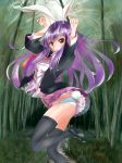 animal_ears artist_request bamboo bamboo_forest bunny_pose bunny_tail forest frilled_skirt frills long_hair nature panties purple_hair rabbit_ears red_eyes red_tie reisen_udongein_inaba shirt shoes side-tie_panties skirt tail thigh-highs touhou underwear white_panties wind_lift