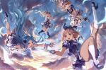 4girls :d artist_name as bangs black_boots black_legwear black_shoes blonde_hair blue_bow blue_eyes blue_hair blue_ribbon blue_vest blush boots bow brown_hair brown_ribbon clouds djeeta_(granblue_fantasy) falling feathers gloves granblue_fantasy hair_bow hair_ornament hair_ribbon hairband hands_on_own_face high_heel_boots high_heels kneehighs leg_ribbon long_hair looking_at_viewer lyria_(granblue_fantasy) mary_(granblue_fantasy) midriff multiple_girls open_mouth outdoors outstretched_arms panties pantyshot parted_bangs plaid plaid_skirt ponytail puffy_short_sleeves puffy_sleeves ribbon shoes short_hair short_sleeves skirt skirt_lift skirt_tug sky smile underwear uniform upskirt usanekorin v_arms vira white_boots white_gloves white_legwear white_panties wrist_cuffs