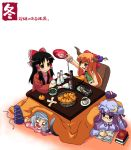 4girls akuto alcohol alternate_costume black_hair blush blush_stickers book breasts brown_eyes cat_tail coat contemporary drunk fish food fruit glasses hakurei_reimu hat highres ibuki_suika kotatsu long_hair mob_cap mononobe_no_futo multiple_girls multiple_tails orange orange_hair patchouli_knowledge pout purple_hair reading ribbed_sweater sakazuki sake short_hair smile sweater table tail tate_eboshi touhou two_tails violet_eyes