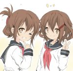 2girls anchor_symbol brown_eyes brown_hair core_(mayomayo) folded_ponytail hair_ornament hairclip ikazuchi_(kantai_collection) inazuma_(kantai_collection) index_finger_raised kantai_collection long_hair multiple_girls neckerchief school_uniform serafuku short_hair siblings sisters smile v