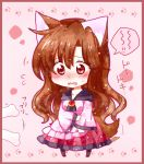 1girl animal_ears blush bone brooch brown_hair chibi collarbone dress imaizumi_kagerou jewelry kuroshiroduet long_sleeves open_mouth red_eyes solo speech_bubble sweatdrop tail tail_wagging touhou translation_request wavy_mouth wide_sleeves wolf_ears wolf_tail