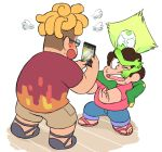 1girl 2boys ;o afro barefoot_sandals blonde_hair brown_hair cellphone curly_hair denim flip-flops fume glasses green_skin grimace jeans looking_up monster multiple_boys one_eye_closed open_mouth outstretched_arms pants pants_rolled_up peridot_(steven_universe) phone ronaldo_fryman sandals shirt shorts simple_background smartphone smile standing steven_quartz_universe steven_universe sweat sweatdrop t-shirt taking_picture teeth visor white_background