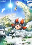 angel_wings blue_sky bow brown_eyes brown_hair clouds dango feathers flying food hair_bow hair_tubes hakurei_reimu multiple_wings open_mouth sky smile solo sun touhou umigarasu_(kitsune1963) wagashi wings yukkuri_shiteitte_ne