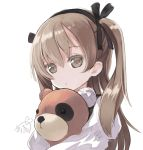 1girl brown_eyes brown_hair girls_und_panzer hairband hibanar hug shimada_arisu solo stuffed_animal stuffed_toy teddy_bear