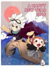 1boy 2016 asa_no_ha_(pattern) blush_stickers clouds dated english fangs goggles goggles_on_head hagoita hakama hanetsuki haori happy_new_year inazuma_eleven inazuma_eleven_(series) inazuma_eleven_go inazuma_eleven_go_chrono_stone itsumi_haruki japanese_clothes kikkoumon mountain multiple_tails new_year paddle red_sun sarunyan saryuu_evan tail two_tails white_hair yagasuri youkai youkai_watch