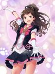 1girl absurdres brown_eyes brown_hair elbow_gloves gloves highres idolmaster idolmaster_million_live! k.sho kitazawa_shiho long_hair looking_at_viewer open_mouth ponytail smile solo tiara